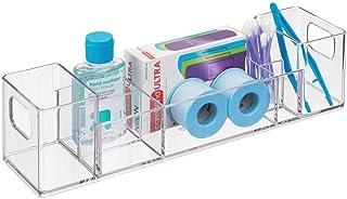 iDesign organiseur salle de bain, bac de rangement en plastique avec 8 compartiments et poignées, rangement de salle de ba...