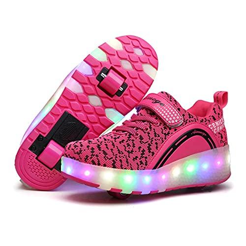 ZZX Unisex LED Roller Skates Shoes con Las Ruedas Luces Luminosa Doble Rueda Técnica Skateboarding Zapatos Gimnasia Al Aire Libre Zapatillas De Deporte,Pink-39