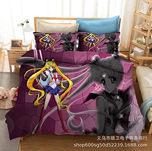 Amswsi Sailor Moon 3D impresión Digital Ropa de Cama Textiles para el hogar Ropa de Cama de Tres Piezas Funda de edredón Halloween Adecuado para el hogar Schulmaterial
