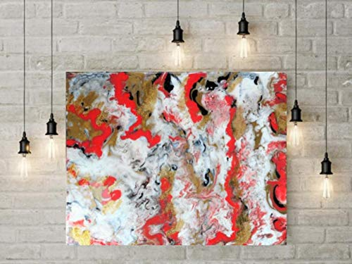 Resin Wall Art, Resin Abstract Modern Painting on Stretched Cotton Canvas, 16 inches x 20 inches