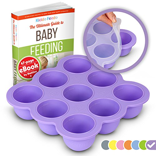 KIDDO FEEDO Congélation Bébé - Récipient Nourriture Original par Amazon avec Couvercle en Silicone - Sans BPA - eBook Gratuit par l'Auteur/Diététicien - Violet