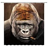 JAOSY Duschvorhang Rauchen Gorilla Dusche Vorhang Wildtier Lustige Orang-Utan Individuellkeit Wildtier Dekor Stoff Badezimmer Gardinen, Wasserdichter Polyester mit Haken 70x70 Zoll (Color : Multi 002)