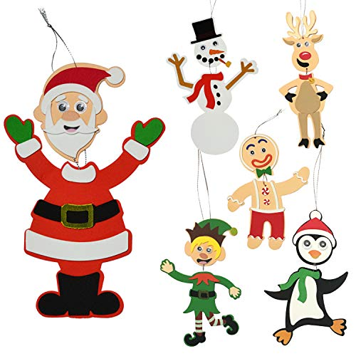 JOYIN 24 Pcs Christmas Crafts Kits Foam Character Art and Craft Set in 6 Different Designs Christmas Hanging Ornaments Holiday Decorations Party Favors Supplies