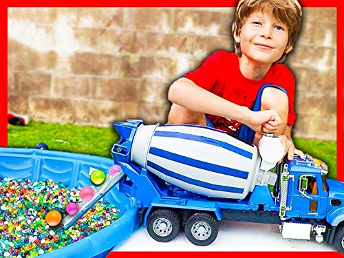 Toy Cement Truck Fills Pool with Water Beads