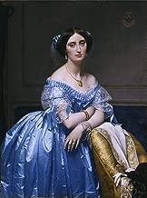 Ingres (Princesse Albert de Broglie, 1853) Canvas Art Print Reproduction (28x20.8 in) (71x53 cm)