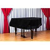 Clairevoire Grandeur: クラシックプレミアムベルベットグランドピアノカバー Yamaha C3 / C3X / DC3 / G3 / CN186PE 用 186cm | 6 フード 1 インチ「ミッドナイトブラック」