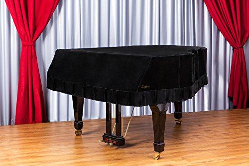 Clairevoire Grandeur: Funda clásica de terciopelo de primera para Pianos de Cola para Yamaha C3 / C3X / DC3 / G3 / CN186PE [186cm | 6 Pies 1 pulgada] [Negro medianoche]