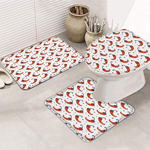 hooya Conjuntos de alfombras y tapetes de baño de 3 Piezas, Alfombra de baño, Cubierta de Asiento de Inodoro, Estera de Inodoro en Forma de U - Chile Mexicano Cinco de Mayo Rojo y Blanco