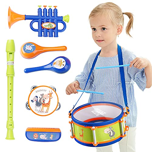 iPlay, iLearn Toddler Musical Instruments Toys, Kids Drum Set, Baby Trumpet, Percussion, Harmonica, Maraca, Flute, Tambourine, Birthday Gifts for 18 Months Olds Ages 2 3 4 5 Years Boys Girls Children