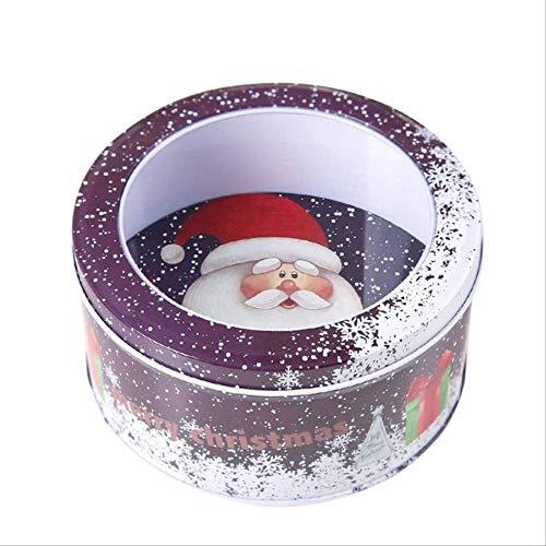 Geschenkdoos BLTLYX 5st Metaal Rond Kerstcadeau Doos Kerst Decoratieve pot Koekjes Snoepblikjes Home Opslag Containers Festival Geschenken Decoratie Sto 14 x 7cm Paars