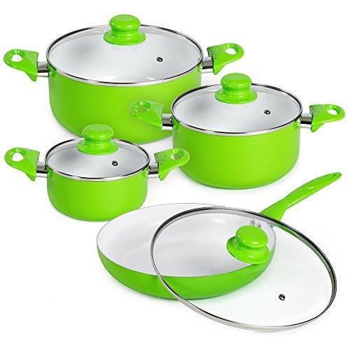 TecTake Set bateria de cocina ollas cerámica 8 piezas con tapas de cristal con sartén - disponible en diferentes colores - (Verde | No. 401195)
