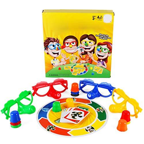 Kids Party Game Set de juegos de fibra El niño mentiroso castiga los juguetes Juego de escritorio Entretenimiento Rompecabezas Juego interactivo, incluye gafas y tarjetas divertidas Nariz creciente