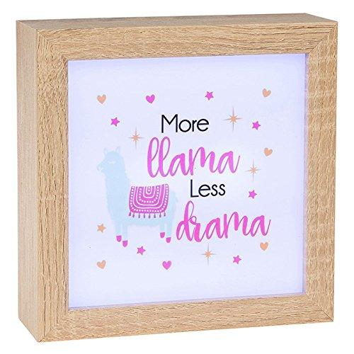 'Plus de Lama moins Drama' LED Lumiere Panneau carré Light Up Box Boîte à cadre en bois