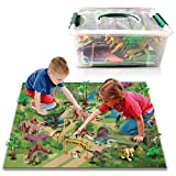 9 Pieces Dinosaur Toys Figure w/ Activity Play Mat & Trees, Educational Realistic Dinosaur Play-Set to Create a Dinosaurios World. Perfect Christmas, Birthday and Anytime Gifts for, Boys & Girls