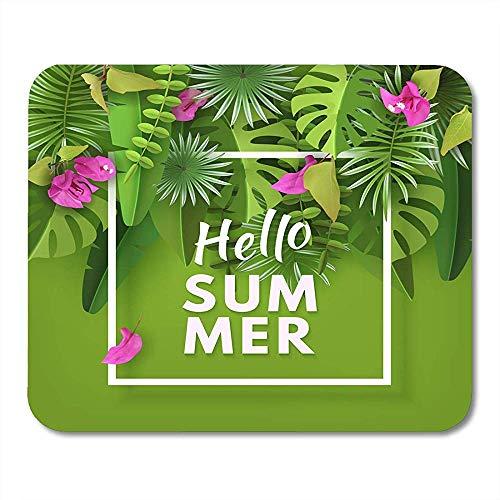 Mousepad Tropische Blätter Blumen Und Pflanzen Grün Abstrakt Mit Laub Und Bougainvillea Sammer Summertime Notebooks Mauspads Desktop-Computer Mauspad Bürobedarf 25X30Cm
