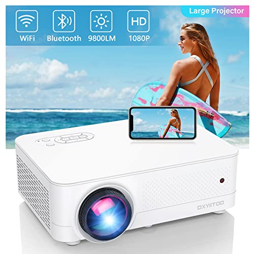 """Full HD Native 1080P WiFi Bluetooth Projector, 9800LM 450"""" Display Support 4K Movie Projector, High Brightness for Home Theater and Business, Compatible with iOS/Android/TV Stick/PS4/HDMI/PPT"""
