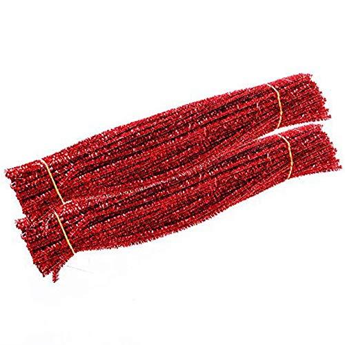 Carykon Tinsel Creative Arts Chenille-Stiele 6 mm x 12 Zoll, 200 Stück, rot