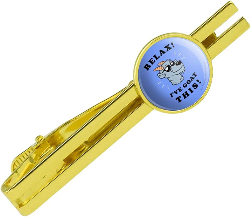 GRAPHICS & MORE Relax I've Goat This Got Funny Humor Round Tie Bar Clip Clasp Tack Gold Color Plated