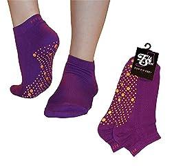 Pilates, Yoga, Arts Martiaux, Gym, Danse, Barre. Anti-glissement / anti-dérapant, la prévention des chutes (Violet / Orange) Grip Socks
