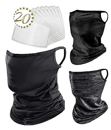 Balaclava Face Mask - New Range 3 Pack Now with 20 PM 2.5 Filters - Comfortable Cooling Neck Gaiter with Filter and Ear Loops, Bandana Face Mask Black Grey, Silk face mask, Sports Mask with Filters.
