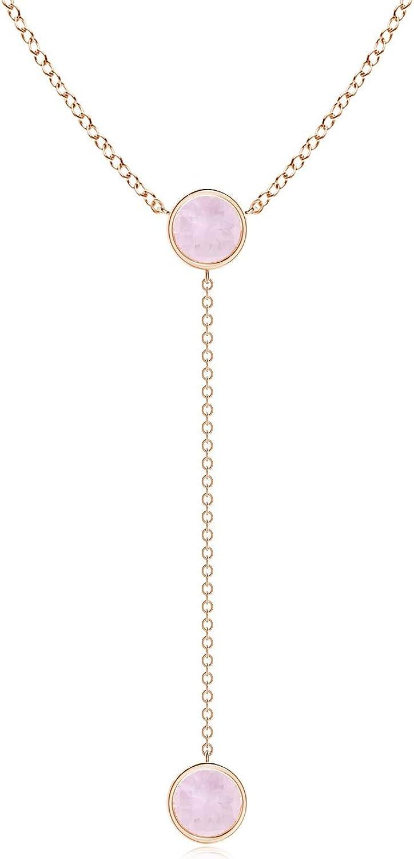 Bezel-Set Round Rose Quartz Lariat Style Necklace (6mm Rose Quartz)
