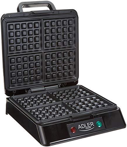 Adler AD3036 Gofrera Profesional para 4 Gofres, 1300W, Libre de BPA, 1300 W, 0 Decibeles, Negro