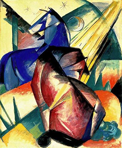Kunst für Alle Impresión artística/Póster: Franz Marc Zwei Pferde Rot und Blau - Impresión, Foto, póster artístico, 65x80 cm