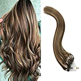 YoungSee 18 Pouces Extension a Froid Cheveux Naturel - 100% Vrai Humain Remy Hair - Marron Foncé #4 Highlight avec Caramel Blond #27, Micro Ring Hair Extension Loop Cheveux 50Meches*50g