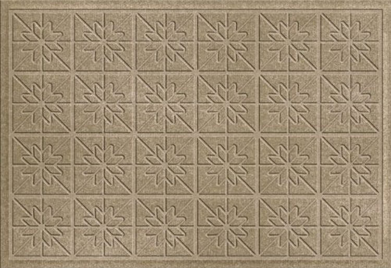 Bungalow Flooring 843500023 Water Guard Star Quilt Mat in Camel - 2 ft. x 3 ft.