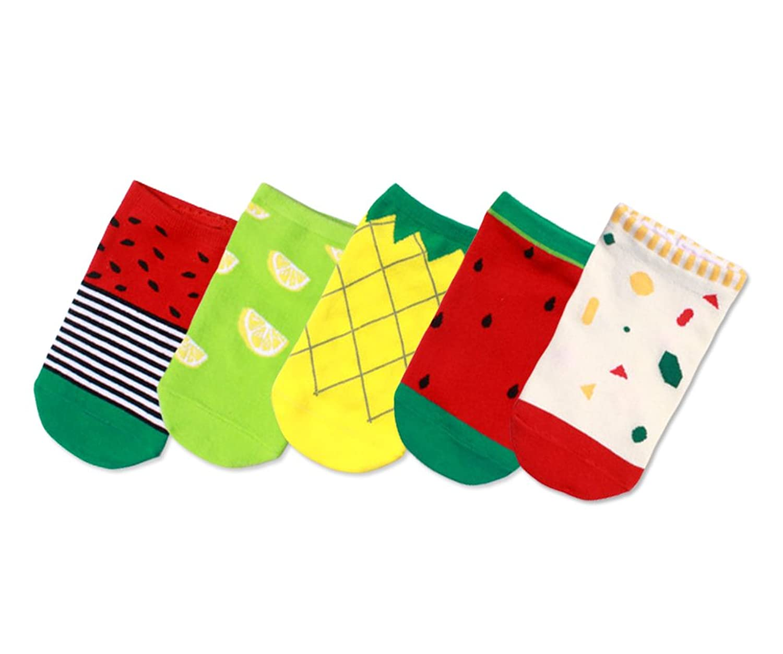 LOVART'S BEAUTY 可愛いソックス 靴下 フルーツ柄 フットカバー 綿 通気 防臭 吸汗 おしゃれ 果物 ジャカード 5足セット