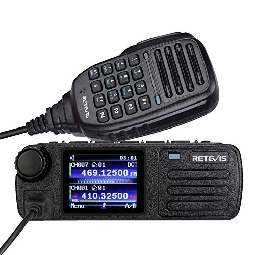 Retevis RT73 Digital Mobile Radios,DMR Radio Transceiver Built in GPS,Dual Band 4000 CH 200000+ Contacts Dual Time Slot,Mini Mobile Car Radios with Microphone (1 Pack)