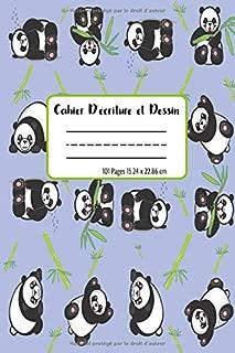 Cahier d'écriture et dessin: Un cahier à pages vierges pour écrire et dessiner, couverture au thème panda pour fans et amateurs. (French Edition)