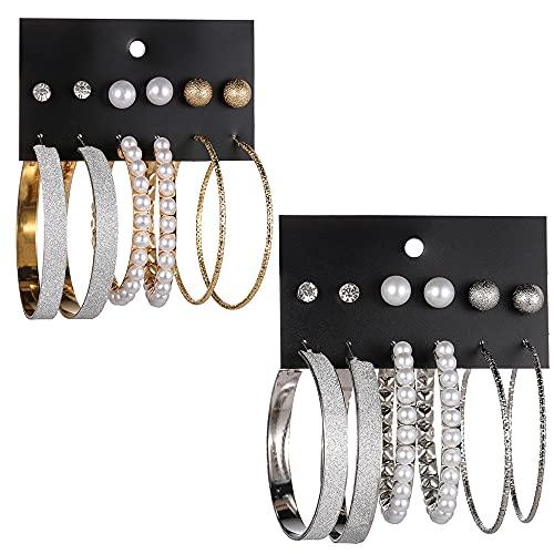 DBMGB 24 Pares de aretes de aro de Plata de Oro, Aros chapados en Oro con acupuntura de la Oreja Plateada, para Las niñas para Mujer para Hombre,Oro