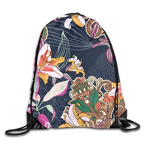 shenguang Vintage Artistic Flowers Mochila Deportiva con cordón Gimnasio Yoga Sackpack String Bag Travel Storage Sack para Mujeres y Hombres Adecuado para la Escuela Natación Correr Playa al Aire
