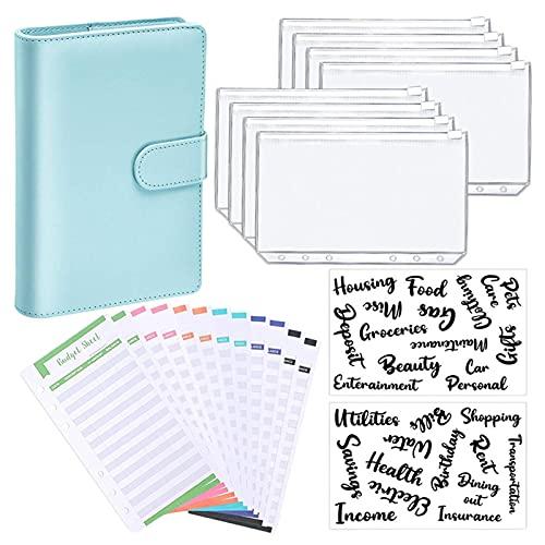 JINGLING A6 Notebook Budget Binder, PU-leer, navulbaar, 6 ringmappen cover met 8 bindmiddelen met ritssluiting, 12…