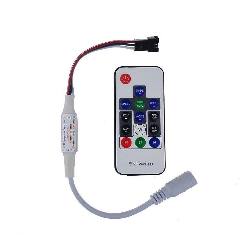 ロゴ居間危険にさらされているTesfish 5V-24V 300種類の変更デジタルRGB LEDストリップライトコントローラ、用14キーRFワイヤレスリモートはWS2811 WS2812B WS2812 LEDストリップライト用