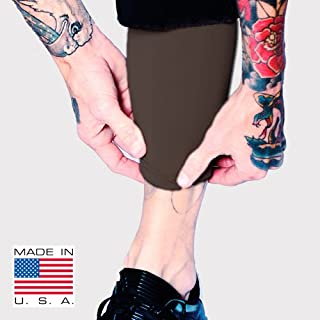 Tat2X Ink Armor Premium Calf Tattoo Cover Up Sleeve - No Slip Gripper - U.S. Made - Brown - ML (Single Calf Leg Tattoo Cover up Sleeve)