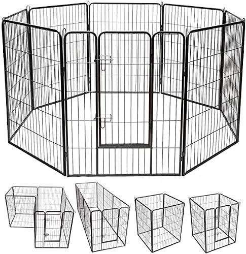 8 Panels Dog Puppy Cat Metal Fence Heavy Duty Pet Pen Exercise Outdoor Indoor Kennel Crate 40''Height