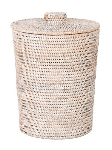 Kouboo La Jolla Rattan Round Plastic Insert Lid Large White-Wash for Bedroom Living Room and Bathroom Basket for Dry or Organic Waste
