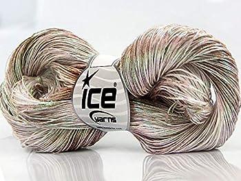 Spray Paint Metallic Cotton Yarn - 100 Grams 306 Yards Sport Weight Yarn with High Shine Iridescent Camel Cream Green Pink