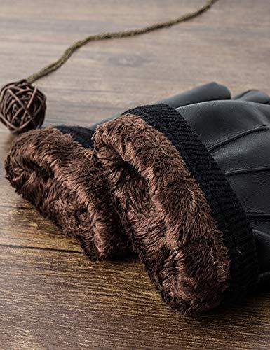 Sankuu Men's Winter Black Leather Gloves 3