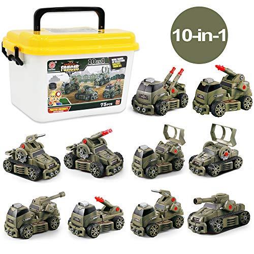 deAO 10-in-1 75 stuks demonteerbare Speciale Eenheden Militaire door Wrijving Aangedreven Voertuigen DIY-montageset Speelset met opbergdoos en handmatige schroevendraaier inbegrepen - Leuk educatief speelgoed voor kinderen