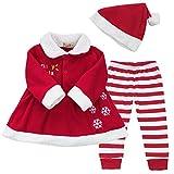 iEFiEL Costume Noël Vêtement Bébé Filles Robe + Pantalon + Chapeau Ensembles 9-24...