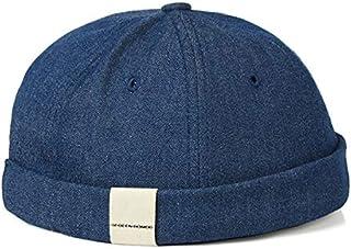 MdsfexixianxinquSombrero de Marinero sin Cuello de la Marca Tide, Tablero Ligero de Hip Hop, Sombrero de Cuero de melón casero de Color sólido - Azul