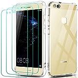 ivoler Funda para Huawei P10 Lite con 3 Unidades Cristal Templado, Carcasa Protectora Anti-Choque Transparente, Suave TPU Silicona Caso Delgada Anti-arañazos Case