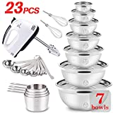 WEPSEN Mixing Bowls Set Electric Hand Mixer Stainless Steel Nesting Mixing Bowl Blender Mixers Beaters Whisk Measuring Cups and Spoons Cooking Prepping Baking Supplies MX200W