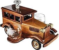ガラスウイスキーデカンター、 絶妙な750mlの古い昔ながらの車のウイスキーデカンタセット、デカンターの栓、再利用可能、2-10オンスウイスキータンブラー古いファッションメガネ、素晴らしいバーギフト 、ワインリキュールスコッチ