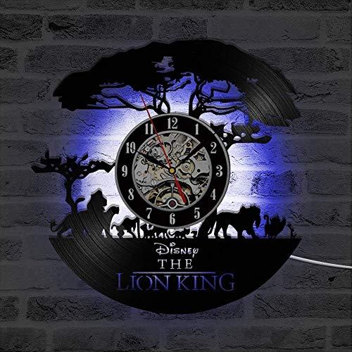 Cheemy Joint Der König der Löwen Disney Vinyl-Wanduhr LED 12-Zoll-Schallplatte, wohnkultur hängende Nachtlampe Uhr 7 Lichtfarbe Nachtlicht, Geburtstags (A6-1 with LED)