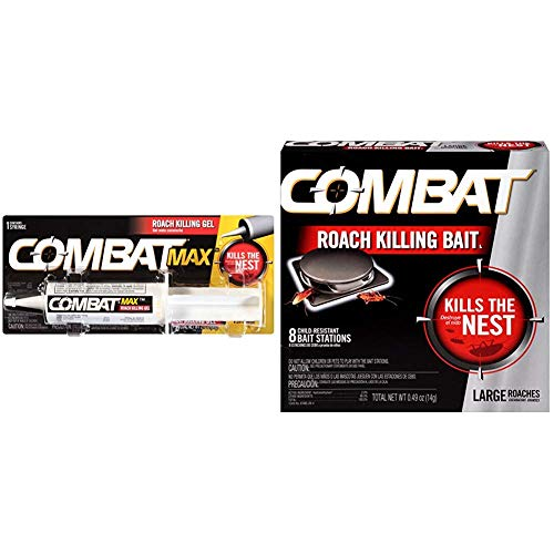 Combat Max Roach Killing Gel for Indoor and Outdoor Use, 1 Syringe, 2.1 Ounces and Combat Roach Killing Bait, Large Roach Bait Station, 8 Count (780059/41913)