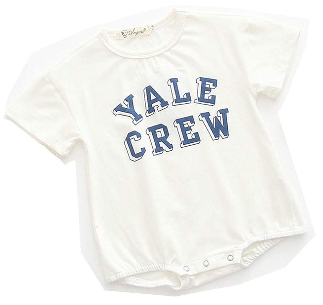 トレッド連邦レキシコン[Hama-zone] 半袖 ロンパース ベビー服 Tシャツ 英字 赤ちゃん 女の子 男の子 男女兼用 グリーン ブラウン ホワイト HZ-491
